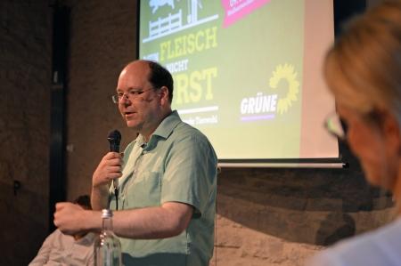 Christian Meyer auf einer Diskussionsveranstaltung am 09.08.2017 in Göttingen, Foto: von Georg Kreuzer